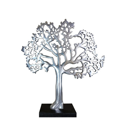 Stylish Aluminum Tree Decor with Block Base Silver and Black By Casagear Home 26939