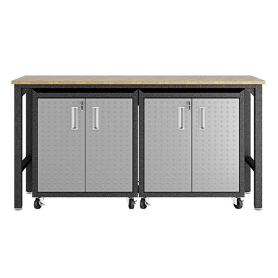 3-Piece Fortress Mobile Space-Saving Steel Garage Cabinet and Worktable 1.0  in Grey - 14GMC