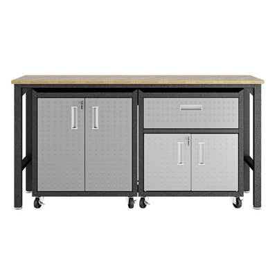 3-Piece Fortress Mobile Space-Saving Steel Garage Cabinet and Worktable 2.0 in Grey - 15GMC