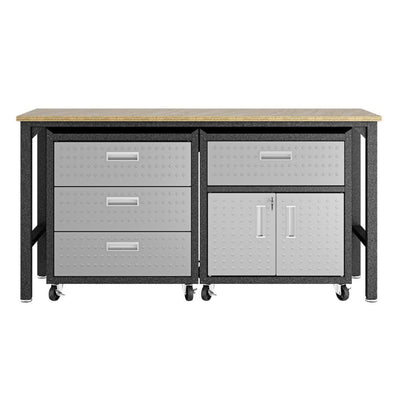 3-Piece Fortress Mobile Space-Saving Steel Garage Cabinet and Worktable 5.0 in Grey - 18GMC