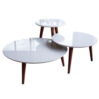 3- Piece Modern Moore Round End Table, White Gloss