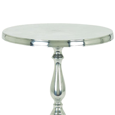 Traditional Style Aluminum Accent Table With Pedestal Base Silver By Benzara 30567