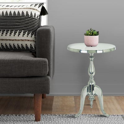 Traditional Style Aluminum Accent Table With Pedestal Base, Silver By Benzara