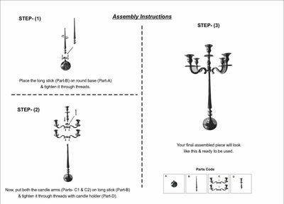 24 Inches Handcrafted 5 Arms Aluminum Candelabra in Traditional Style Polished Silver 30854