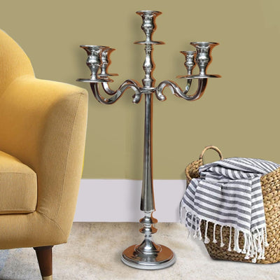 24 Inches Handcrafted 5 Arms Aluminum Candelabra in Traditional Style, Polished Silver