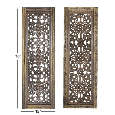 Floral Hand Carved Wooden Wall Panels Assortment of Two Brown By Benzara 34087