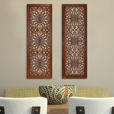 2 Piece Mango Wood Wall Panel Set with Mendallion Carving Burnt Brown By Casagear Home 34089