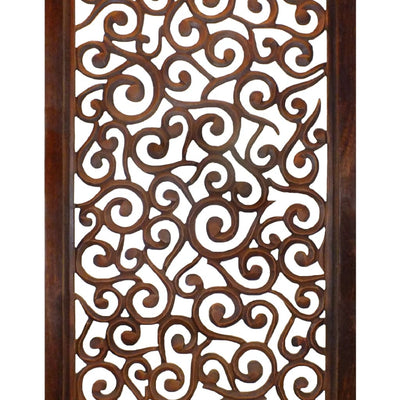 Rectangular Mango Wood Wall Panel with Cutout Scrollwork Details Brown 34092