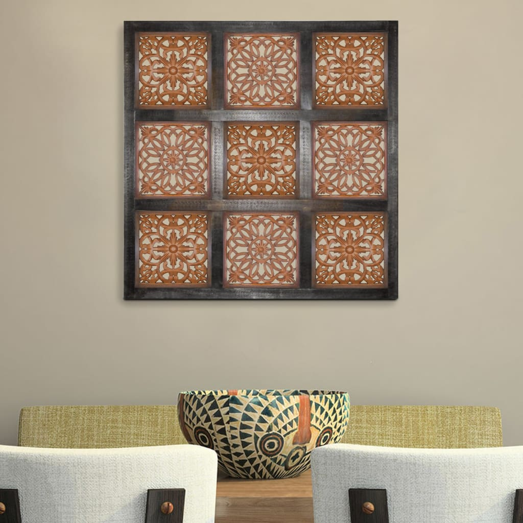 Buy Online Distressed Fresco Panels With Traditional Motif In Wood Black Gold Set Of 4 From Casagear