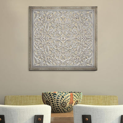 Square Shape Wooden Wall Panel with Cutout Sprig Pattern, Distressed White