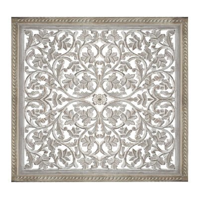 Square Shape Wooden Wall Panel with Cutout Sprig Pattern Distressed White 34133