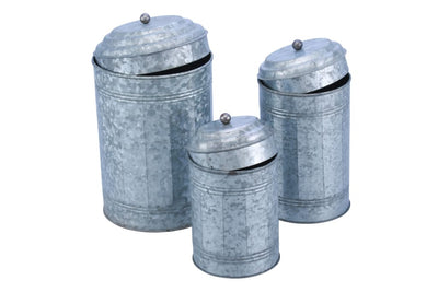 Rustic Metal Galvanized Canisters- Set of 3- Benzara 38168