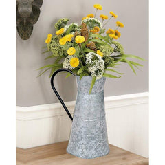 Classic Galvanized Metal Jug With Handle,  Gray By Benzara