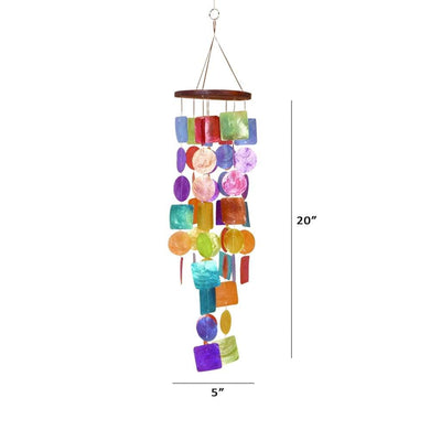Exquisite Wind Chime with Wooden Round Top and Ring Handle Multicolor-Benzara 40302
