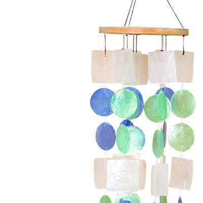 Coastal Inspired Wind Chime with Wooden Round Top and Ring Handle Multicolor 40303