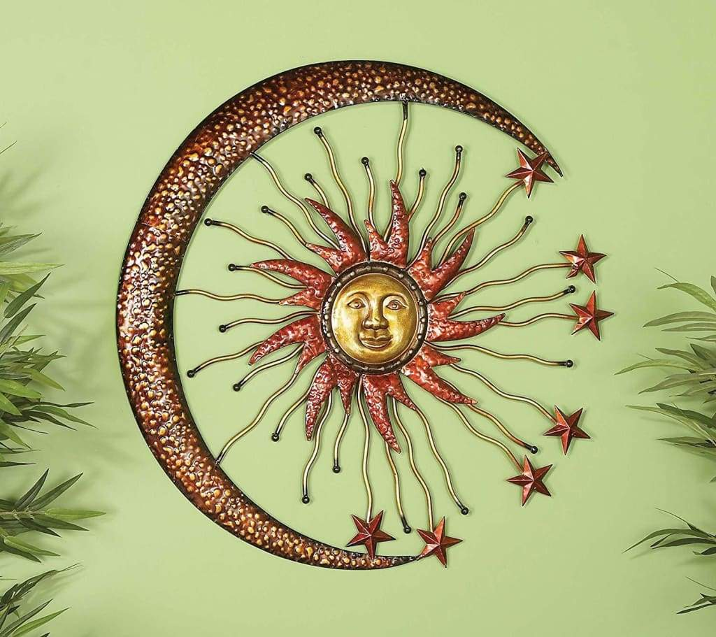 Sparkling Sun Moon Metal Wall Decor With Small Stars, Bronze By Benzara