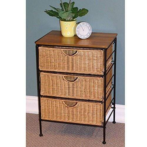 4D Concepts Farmington 3 Drawer Check with Wood top, Maize Weave and Metal
