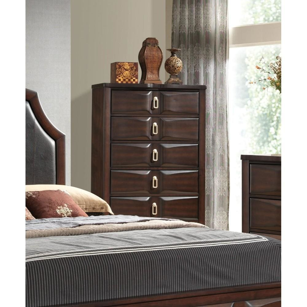 5 Drawers Transitional Style Wood Chest, Espresso Brown - Acme