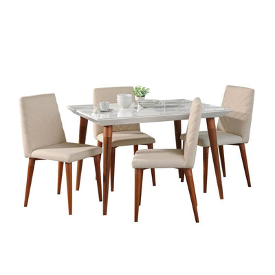 "5-Piece Utopia 47.24"" Dining Set with 4 Dining Chairs, Beige and Brown - 2-107351109251"