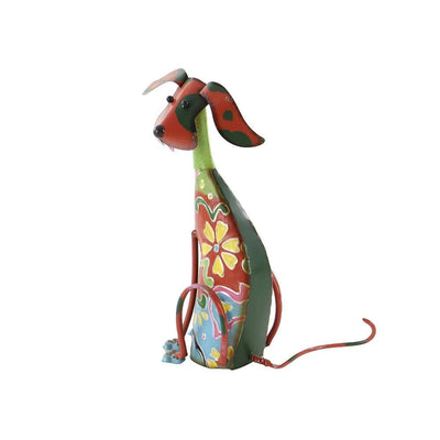 Decorative Metal Dog Sculpture/Statue Multicolor-Benzara 55138