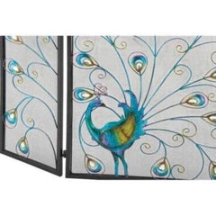 Peacock Themed Metal 3- Panel Fireplace Screen, Multicolor By Benzara