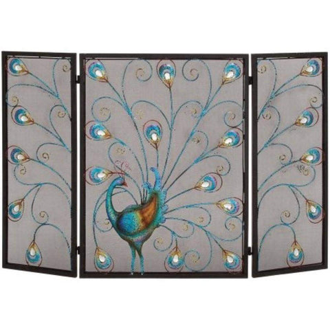 3- Panel Metal Fire Screen With Traditional Design, Bronze By Benzara