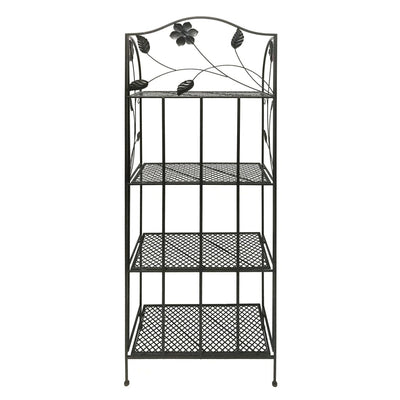 Four Tier Metal Foldable Bakers Rack with Flower Motifs Black 63065