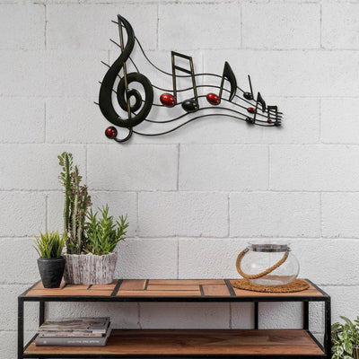 Metal Musical Notes Wall Hanging Art Decor Black and Copper By Casagear Home BM05414
