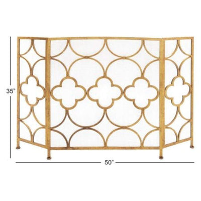 Space Efficient 3- Panel Metal Fireplace Screen In Gold By Benzara 67053