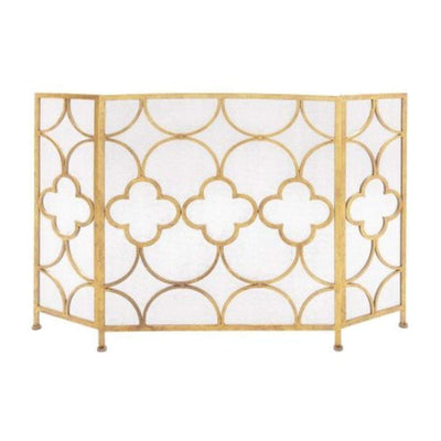 Space Efficient 3- Panel Metal Fireplace Screen In Gold  By Benzara