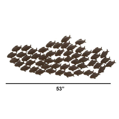 Attractive Metal Fish Wall Decor In Bronze 68744