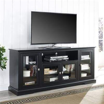 "70"" Black Wood Highboy TV Stand by Walker Edison"