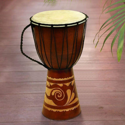Decorative Wood and Leather Djembe Drum with Side Handle, Large, Brown and Cream
