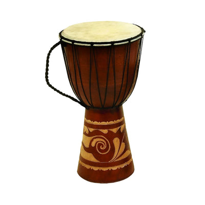 Decorative Wood and Faux Leather Djembe Drum with Side Handle Large Brown and Cream 89847