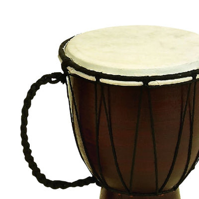 Decorative Wood and Faux Leather Djembe Drum with Side Handle Small Brown and Cream 89848