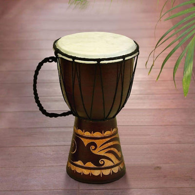 Decorative Wood and Leather Djembe Drum with Side Handle, Small, Brown and Cream