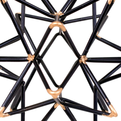 Intersecting Iron Wire Star Decor with Accented Joints Black and Gold BM47916