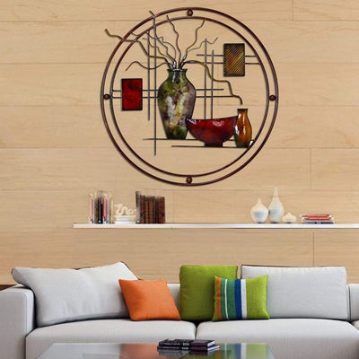 Aesthetically Charmed Round Metal Wall Decor, Multicolor -Benzara