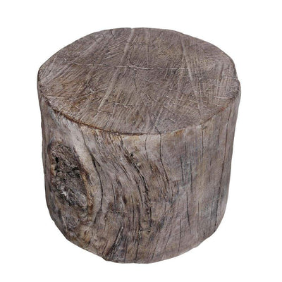 Cement Round Tree Stump Stool, Brown-A and B Home