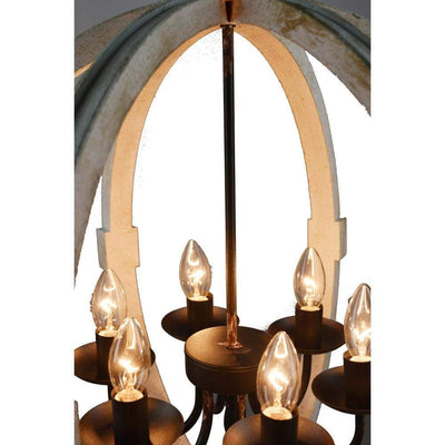 Calder Wooden Orb Shape Chandelier With Metal Chain And Six Bulb Holders White ABH-36407