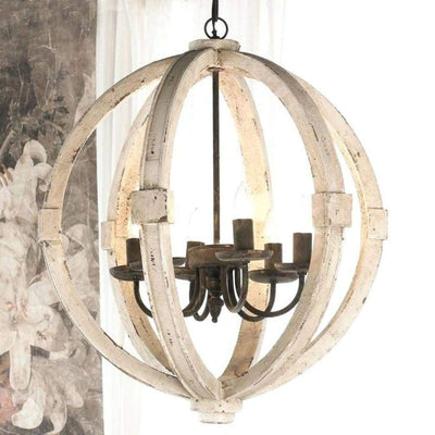 Calder Wooden Orb Shape Chandelier With Metal Chain And Six Bulb Holders, White By Casagear Home