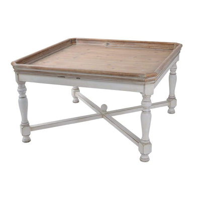 Square Shaped Wooden Coffee Table With Beveled Edges, Brown & Gray By Casagear Home