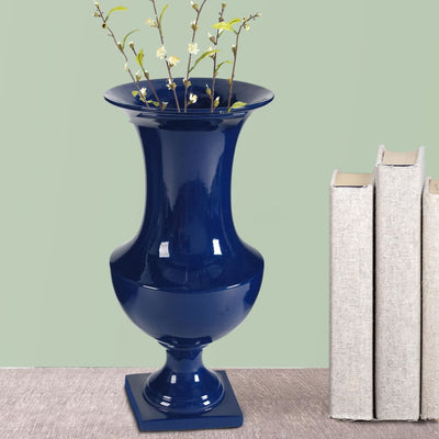 Ceramic Urn With Flared Opening Blue By Casagear Home BM180947