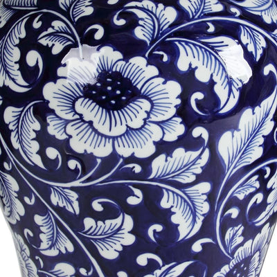 Floral Design Ginger Jar with Lid Blue and White By Casagear Home ABH-AV69766