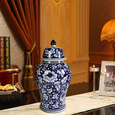 Floral Design Ginger Jar with Lid, Blue and White By Casagear Home