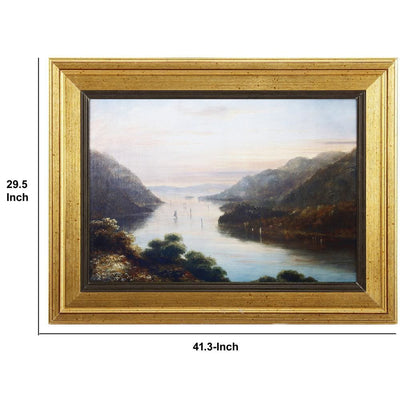 Rectangular River Wall Art With Wooden Frame Multicolor By Casagear Home BM180965