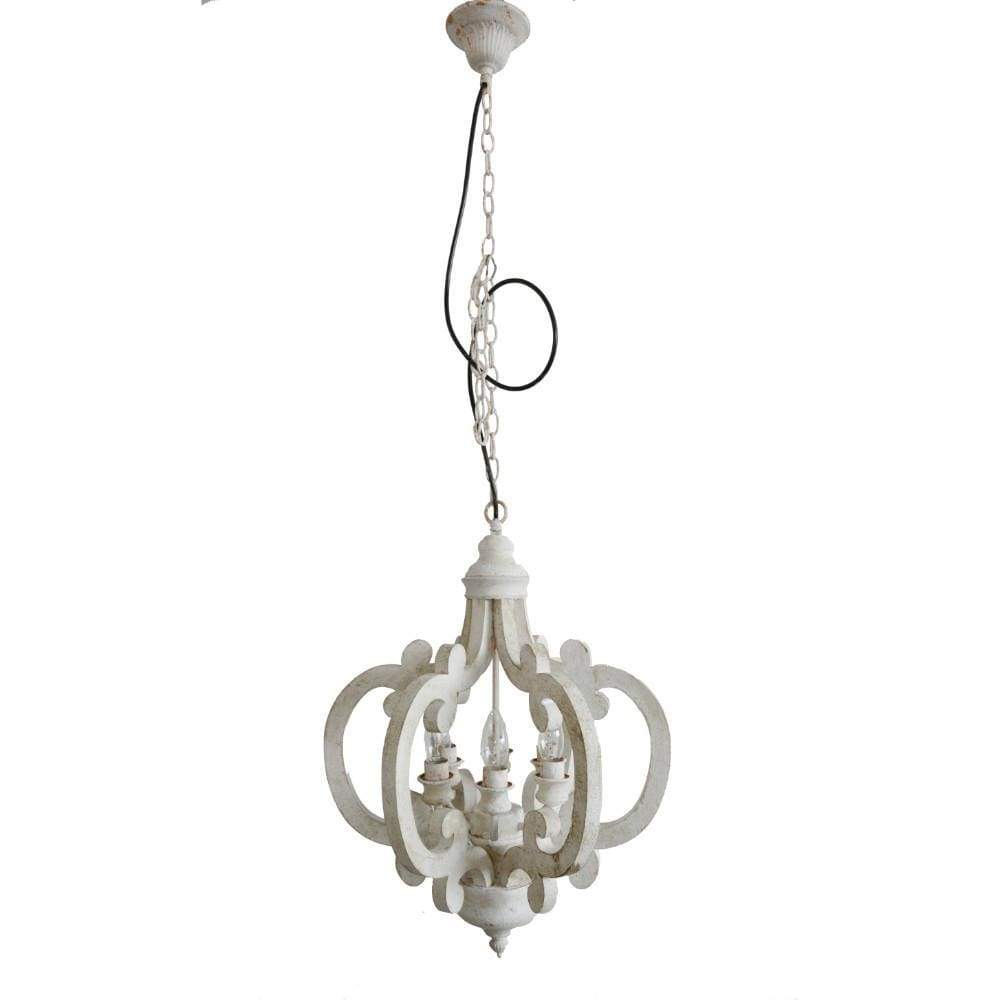 Beautiful Wood Metal Antique Chandelier, White