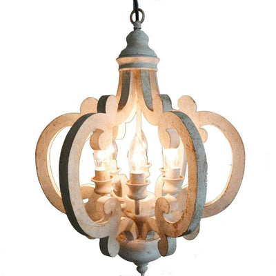 Beautiful Wood Metal Antique Chandelier White ABH-DT38552