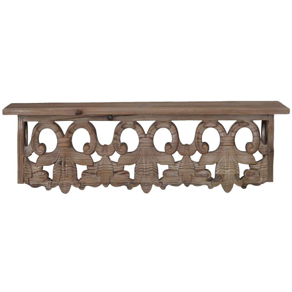 Finely Carved Wooden Wall Shelf, Small, Brown