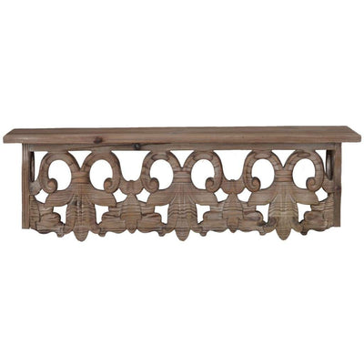 23.5 Inches Wooden Wall Shelf with Scrollwork, Small, Brown By Casagear Home